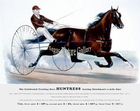 Fine art Horseracing Print of the 1800's Racing and Trotting of The Celebrated Trotting Mare Huntress on 1872 SEPT 23rd Prospect Fair Grounds L.I.